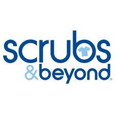 """Scrubs & Beyond Logo - blue text with a small light blue scrub shirt in the hole of the """"b"""" at the end of Scrubs"""
