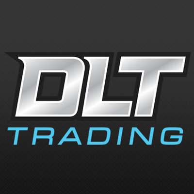 DLT Trading Logo - Black box with grey and electric blue text